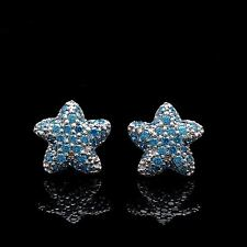 0.16CT. Manmade Blue Topaz Starfish Earrings 14K White Gold Screwback Star Studs