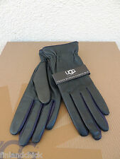 UGG JOEY CINCHED TECH 2-TONE LEATHER/ CASHMERE CLASSIC SMART GLOVES ~ L ~ NWT