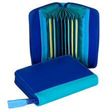 Mywalit Leather Concertina Styled Credit Card Holder Boxed Seascape Blue