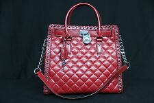 NWT Michael Kors NS Hippie Grommet Hamilton Quilted Large Convertible Tote. Red