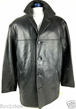 Danier Men's Leather Zip out Lining Four Button Black Jacket Size MED.