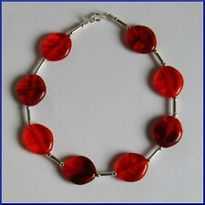 Stylish STERLING SILVER 925 BRACELET Bright Red CZECH GLASS Handmade UNUSUAL