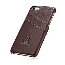 iPhone 7 Coated Leather Case with card slots Walnut Brown Simons of London