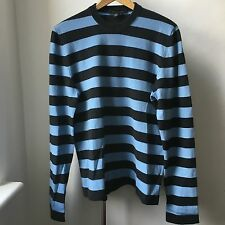 Very Cool Marc Jacobs 100% cashmere light blue black stripes jumper Italy Sz M