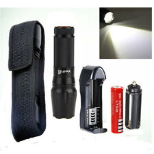Military Zoom 8000Lm XML T6 LED Flashlight Torch Light+18650+Charger+Holster