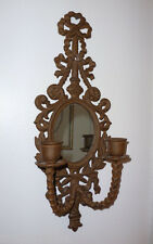 VINTAGE STYLE RUSTIC CAST IRON ORNATE MIRROR WALL SCONCE