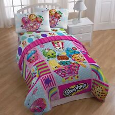 Shopkins Patchwork Girls Full Comforter & Sheet Set (5 Piece Bed In A Bag)