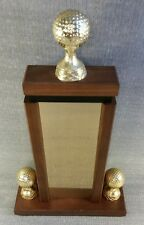 Vintage Golf Outing Ball Trophy 1981 Metal Wood 15 1/2``Tall Award By Lane