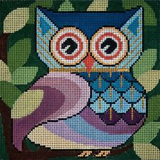 NEEDLEPOINT HandPainted JP Needlepoint OWL Who Gives HOOT 5x5 18M