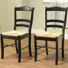 NEW Set of 2 Wood Dining Chairs in Black - Ladderback with Rush Seats SHIPS FREE