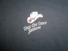 Texas Line Dance Jamboree Cowboy Boots Black Graphic Print T Shirt - L