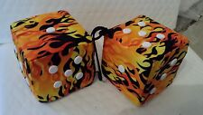 YELLOW FLAME  W / WHITE FUZZY DICE 3 inch square mirror hangers 1