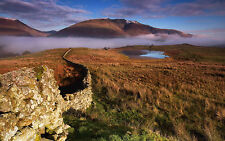 Framed Print - Old Stone Wall Snaking Through the Scottish Highlands (Picture)