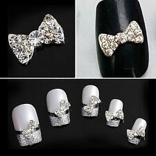 10pcs Crystal Rhinestone 3D Nail Art Bowknot Tie Bow Stickers Slice Manicure New