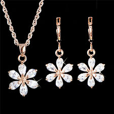 18K Gold Filled Cubic Zirconia White Flower Pendant Necklace Earring Jewelry Set