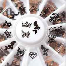 3D Wheel Metal Christmas Nail Art Decoration Slice Black Stickers Decal Foil New