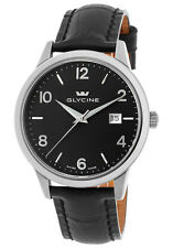 NEW Glycine Black Dial Genuine Leather Dress Watch 3925-19-LBK9