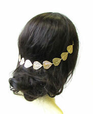 Grecian Gold Leaf Hair Vine Headpiece Headband Boho Festival Chain Bridal 1419