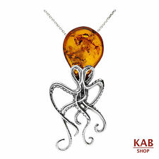 "COGNAC BALTIC AMBER STERLING SILVER 925 OCTOPUS PENDANT with 18"" chain, KAB-53"