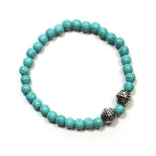 Magnesite Turquoise Bracelet 6mm with two plated metal beads