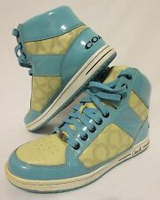 COACH Tiffany Blue Yellow Hi Top Sneakers NORRA Tennis Shoes Women's 9 M Athleti