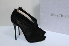 New Jimmy Choo Vivid Black Suede Peep toe Ankle Bootie Heel Shoes sz 7 / 37