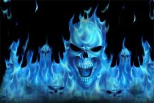 "5.75""Blue flaming skull vinyl sticker decal motorcycle guitar helmet custom"