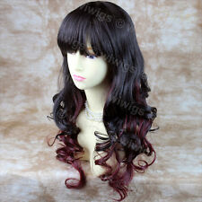 Beautiful Layered Curly Burgundy Red /  Brown Long Ladies Wigs from WIWIGS UK