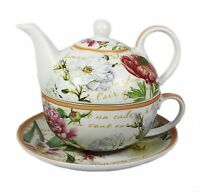 Flower Garden Floral Fine China Afternoon Tea For One Set Teapot Cup Saucer NEW