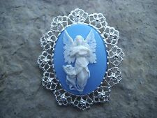 2 IN 1 GUARDIAN ANGEL WITH WINGS CAMEO BROOCH/PIN/PENDANT!! XMAS, HOLIDAY!!