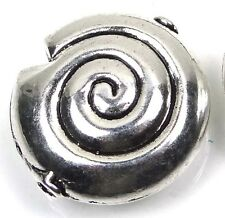 2 Large Silver Pewter Spiral Snail Shell Pendant Focal Beads ~ Lead Free ~ 30mm