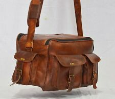 Real leather shoulder satchel vintage brown messenger camera mens bag briefcase