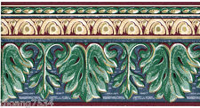 Architectural Acanthus Leaf Crown Molding Blue Green Gold Wall paper Border