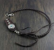 New! Braided Leather Wallet Chain with Leather Clasp Clip Biker Rock