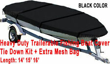 Trail-able Deluxe 14' 15 16' Aluminum Fishing V-Hull Boat Cover Black Color BBTC