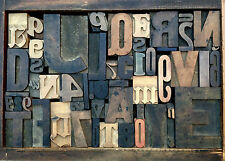 Antique Letterpress Printers WOOD TYPE Mix 54 Pieces