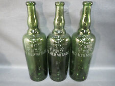 Lot 3 ancienne bouteille en verre ND HERMITAGE liqueur bistrot french old bottle