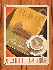 """TIN-UPS Tin Sign """"Cafe Roma"""" Travel Coffee Kitchen Vintage Art Poster"""