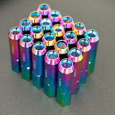 NEO CHROME 20PCS ALUMINUM EXTENDED TUNER LUG NUTS 60MM FOR WHEELS/RIMS M12X1.5