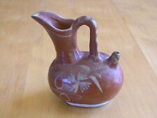 Antique Hispanic Mexican Terracotta Redware Pottery Vessel Ewer Slip Painted