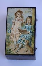 Antique 19thC Tole Painted Tin Cylinder Wind Up Music Box with Two Girls & A Dog