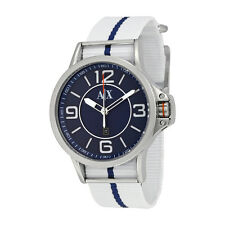 Armani Exchange Blue Dial White and Blue Fabric Strap Mens Watch AX1580