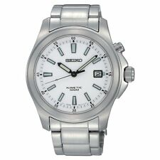 Seiko Men's SKA461P1 Kinetic Movement Stainless Steel White Dial Watch