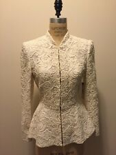 Alice + Olivia White Lace Jacket w/ Long Sleeve/ Peplum Wedding Sz S/P NWT