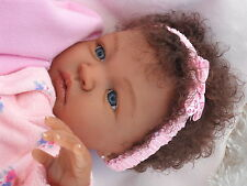 Reborn Baby Shyann Ethnic Biracial By Aliena Peterson Brown Hair & Blue Eyes