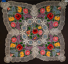 Vintage Hungarian Kalocsa Embroidery Lacework Folk Art Square Tablecloth 32x32