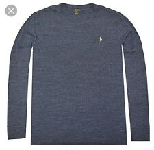 Polo Ralph Lauren Mens Long Sleeve Crew Neck T-Shirt NWT Gentian BLUE. LARGE