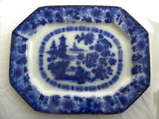 "Large Antique ""Rock"" or ""Kirkee"" Flow Blue Platter made by Wood, Meir Challinor?"