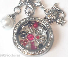 ❤️18KGP FLOATING CHARM Locket CHAIN ~LOVE MY CAT �� Meow ~Will FIT Memory OWL❤️
