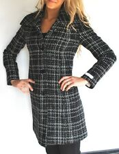 New Womens $350 Authentic Calvin Klein Black White Tweed Wool Coat  8